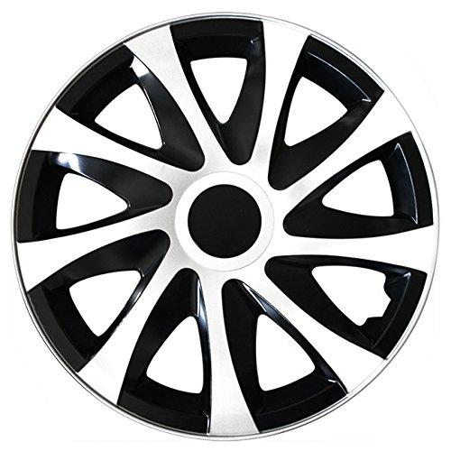 Autoteppich Stylers (Größe wählbar) 14 Zoll Radkappen/Radzierblenden DRA Bicolor (Schwarz-Weiss) passend für Fast alle Fahrzeugtypen – universal