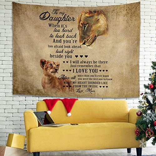 FFanClassic Tapestry To My Daughter Lion Vintage Wall Hanging - Large Tablecloths for Room white 59x59inch