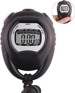 Sportstoppur, elektronisk stoppur timer för löpning träning simning domare stoppur (färg: Svart, storlek: 7,5 x 6,0 x 1,8 cm)
