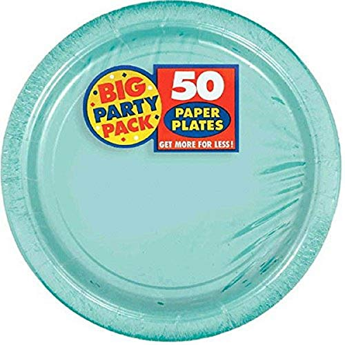 Amscan Big Party Pack Premium Paper, Robins-Egg Blue Plates, One Size