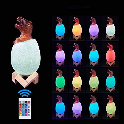 Ranpo Luz nocturna de dinosaurio 3D, juguetes para niños, luces de noche LED, control táctil remoto de 16 colores, lámpara de decoración de escritorio de mesa, dormitorio, regalo para niños y niñas
