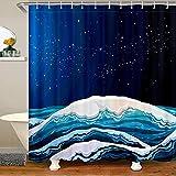 Loussiesd Cortina de ducha Ocean Wave para niños, adolescentes y galaxia, con 12 ganchos, juego de cortina de ducha para bañeras de mar de 177 x 201 cm