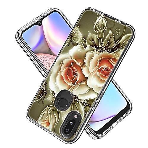 Hülle für Samsung Galaxy A10s,Durchsichtig Handyhülle Hybrid Rundumschutz (Hartplastik + Weich TPU Silikon Bumper) Ultradünne Stoßfest Schutzhülle Transparent Cover Case (Rose)