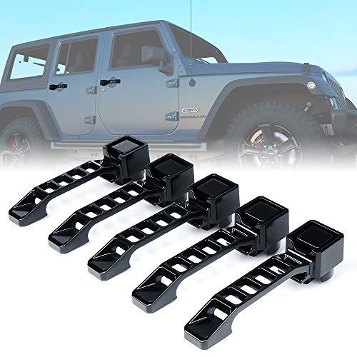 Xprite 5 Pieces Heavy Duty Aluminum Door Handle Set for 2007-2018 Jeep Wrangler JK
