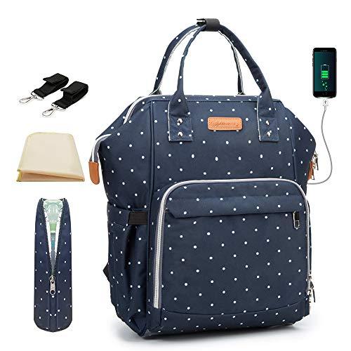 Wickeltaschen-Rucksack, wasserdicht, mit Wickelunterlage und USB-Anschluss und Buggy-Clips, Maydolly Windeltasche, Rucksack, Reisen für Herren und Damen, großes Fassungsvermögen