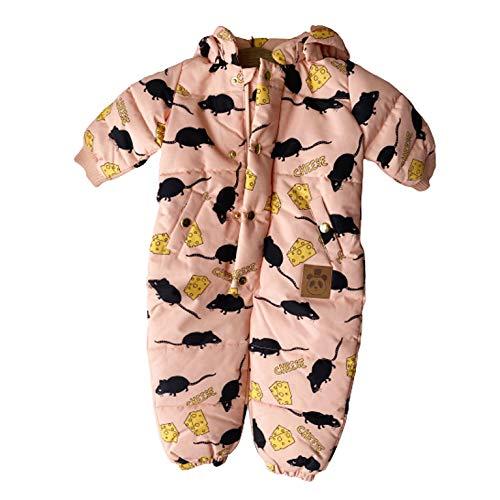 ミニロディーニ mini rodini CHEESE AOP ベビージャンプスーツ ネズミ&チーズ ピンク