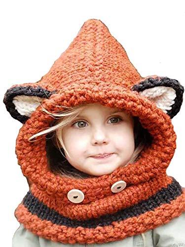Ushiny Berretto invernale caldo lavorato a maglia, in cotone, per bambine, autunno, Beanie Bow Fleece foderato, cappelli in pelliccia sintetica, cappelli per genitori e bambini (arancione)