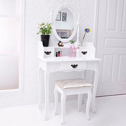 CCLIFE Coiffeuse Table de Maquillage moderne Noir avec 1 Miroir Ovale - Coiffeuse avec tabouret - Coiffeuse femme, Couleur:Blanc