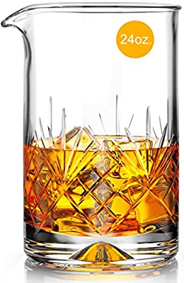 Crystal Cocktail Mixing Glass - Thick Bottom 17oz 500ml Cocktail Glass - Choice for Amateurs & Pros - Ideal Gift