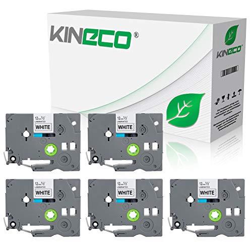 Kineco 5 Schriftbänder kompatibel für Brother TZE-231 12mm/8m - Schwarz auf Weiß P-Touch 1000 1010 1080 1090 1200 1200P 1230PC 1250 1280 1290 1750 1800 1850 200 220 2400 2450 2460 2470 2480 300 310