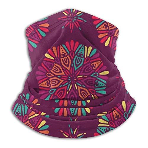 AEMAPE Indian Floral Paisley Medallion Pattern Unisex Fleece A prueba de viento Calentador de cuello Calentador de rostro Tubo de cuello Bufanda de cuello Polainas Diadema Bandana Negro