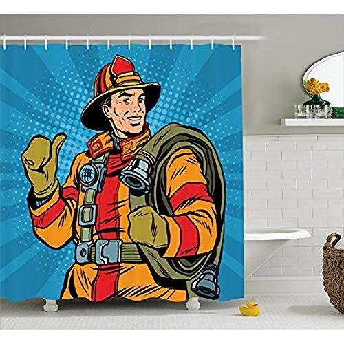 Yeuss Feuerwehrmann Duschvorhang, Comic Feuerwehrmann Figur mit Uniform & Daumen hoch auf Halbton Hintergr&,Stoff Badezimmer Dekor Set mit Haken,Multicolor 60'x72'