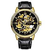 KKmoon Homens Relógios Esqueleto Mecânico Automático Relógio Pulseira de Couro Genuíno Mãos Luminosas 3ATM À Prova D 'Água Moda Masculina relógio de Pulso preto