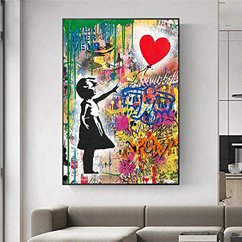 Bansky Graffiti Art Street Art Follow Your Dreams Canvas Painting Poster Wall Art for Living Room Home Decor Picture Print 60x100cm (24x39in) Cornice interna