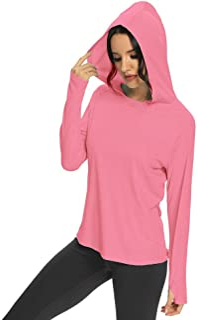 M MAROAUT Women's UPF 50+ UV Sun Protection Hoodie Long Sleeve Hiking Shirt Lightweight Quick Dry Outdoor Running Fishing