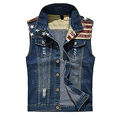 iYYVV Mens Denim Vest Casual Cowboy Jacket Ripped Holes Sleeveless Tops from