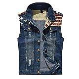 Veste Courte sans Manches en Jean Vintage Homme Vest,Roiper Automne Hiver Slim Denim Bleu Foncé Délavé Décontractée Jacket Roiper