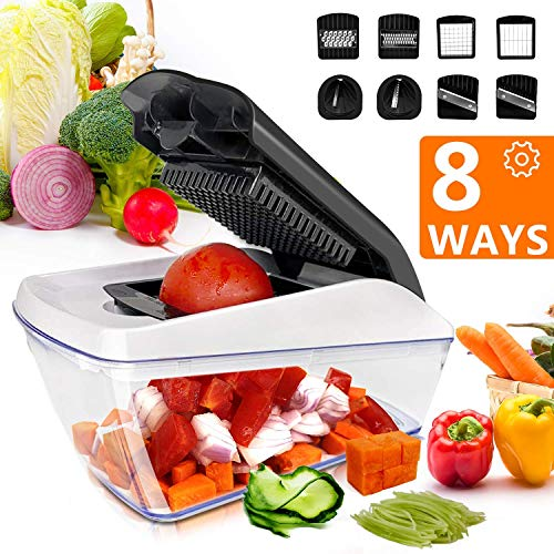 Vegetable Chopper, Fun Life 8-in-1 Vegetable and Onion Choppers, Mandolin Slicer and Food Dicer, Multifunctional Cutter for Onion, Garlic, Cabbage, Carrot, Potato, Tomato, Fruit, Salad