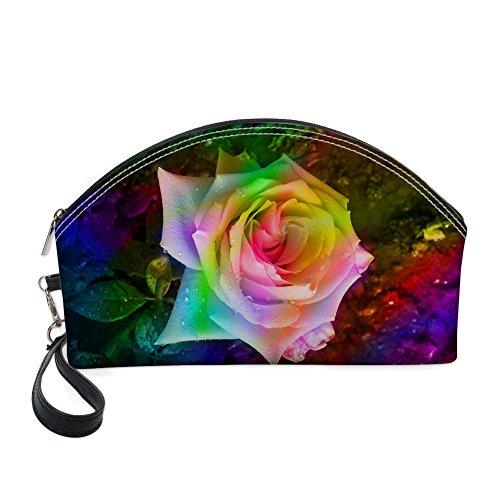 Nopersonality Art Floral Style résistant à l'eau Grand sac de maquillage kit de voyage Sac à main noir rose 3