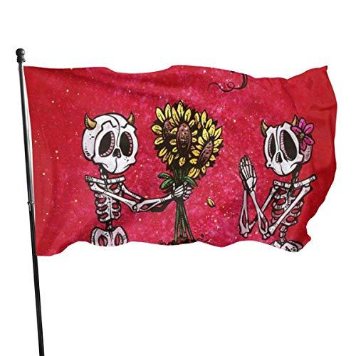 Ha99y Paar Valentinstag Red Umbrella 3x5 Fußfahne Lebendige Farbe und UV-lichtbeständiges Polyester 3 X 5 Ft Gartenflaggen