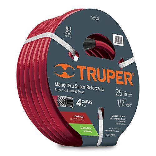 Truper MAN-25X1/2X, Manguera armada super reforzadas 4 capas, conexiones metálicas, 1/2', 25 m