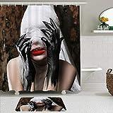 FOURFOOL Cortinas con Ganchos,Halloween Black Horror Hand Woman Monster con Gasa Blanca Que Cubre la Cara Hell Nightmare Lámina artística,Decoraciones de Cortinas de Ducha Alfombra de Baño Moderno