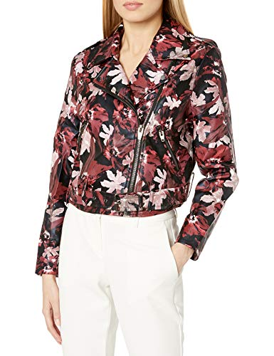 Floral Pattern Leather Moto Jacket
