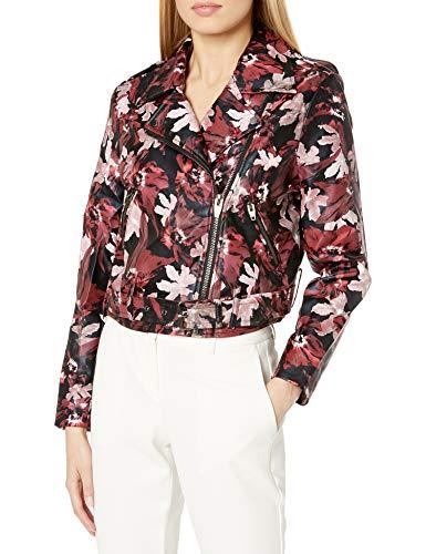 Floral Pattern Leather Moto Jacket