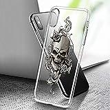 A0020 Schutzhülle für iPhone Xs Max, transparent, Kunst-Design, weiche Rückseite, Motiv: Horror-Totenkopf