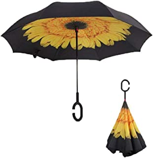 Reverse Umbrellas For Double Layer Umbrella Windproof Umbrella Long Handle Rain Gear,Dark Khaki