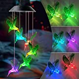 Hummingbird Wind Chime Gift LED Solar Changing Color Waterproof Hummingbird Wind Chimes for Home Party Night Garden Decoration Mom Birthday Gift Housewarming Gift