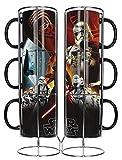SD toys Star Wars Set de Tazas, Cerámica, Negro, 12 cm