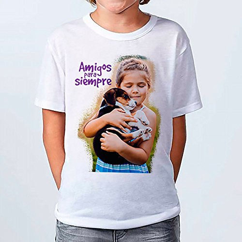 LolaPix - Camiseta Kids Personalizada con tu Foto, diseño o Texto, Original y Exclusivo. Camiseta Blanca Impresa a Todo Color para niños y niñas. Tacto Algodon. Distintas Tallas. Talla 11-12