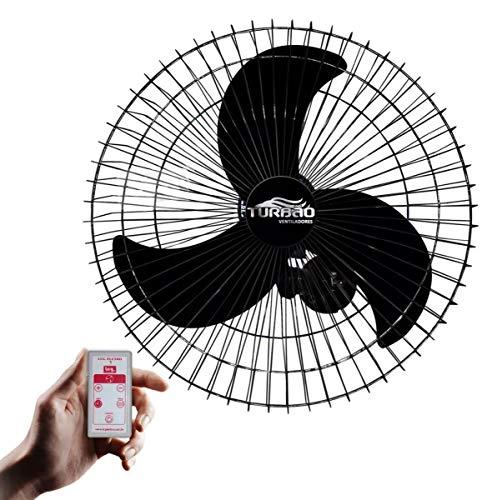 Ventilador de Parede Oscilante 60cm Preto Turbão Com Controle Remoto