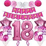 YLXQJIN Set de decoración de 18 cumpleaños con globos de color rosa para 18 cumpleaños