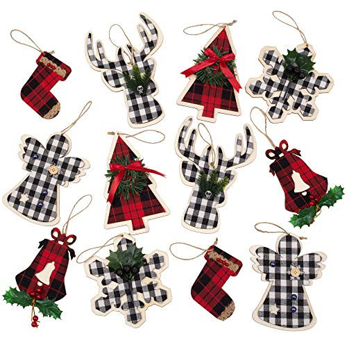 Skrantun Wooden Christmas Tree Decorations 12 Pcs Classic Hanging Ornaments for Farmhouse Crafts Christmas Decorations for Home and Party with Buffalo Pattern
