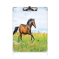 クリップボード A4 馬術 かわいい画板 馬は花の牧草地の農村の自由動物の画像 A4 タテ型 クリップファイル ワードパッド ファイルバインダー 携帯便利ベイビーブルーグリーンブラウンにギャロップを実行します