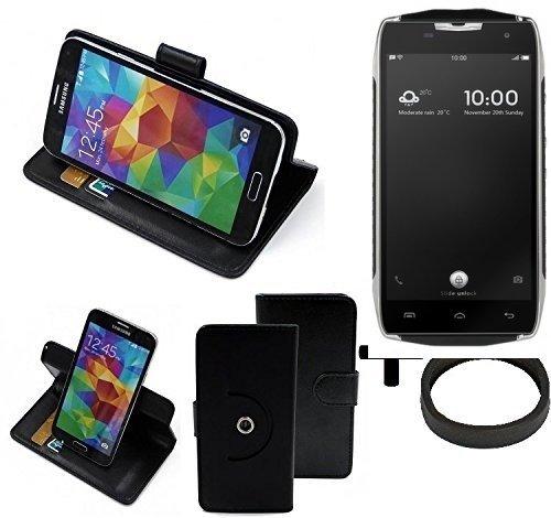 K-S-Trade® Hülle Schutz Hülle Für Doogee T5 + Bumper Handyhülle Flipcase Smartphone Cover Handy Schutz Tasche Walletcase Schwarz (1x)