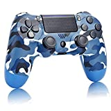 AUGEX camo Blue PS4 Controller Compatible with Playstation 4, Camouflage Blue New Remote with Double Shock to Control pa4, Light Blue Great Gamepad Gift for Kids/Man/Girls/Women (Camouflage Blue)