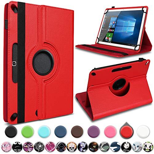 UC-Express Tablet Hülle kompatibel für Xiaomi Mi Pad 4 Plus Tasche Schutzhülle Cover Schutz Case 360° Drehbar 10.1 Zoll Klapphülle, Farben:Rot