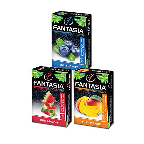 Fantasia Herbal, Hookah Shisha Flavors, Tobacco & Nicotine Free, Fruit Variety Pack, 50-Gram (Pack of 3) F3