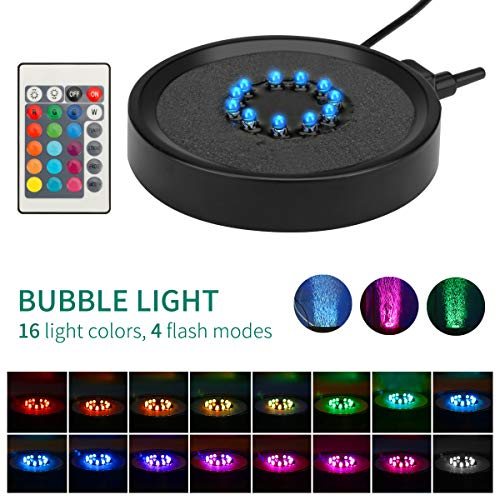 Number-one Aquarium Bubble Light LED Fish Tank Bubbler Light, Remote Controlled Aquariums Air Stone Disk Lamp with 16 Color Changing, 4 Lighting Effects for Fish Tanks and Fish Ponds