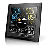 Geevon Wireless Weather Station Indoor Outdoor Thermometer Hygrometer with Sensor,Atomic Digital Humidity Monitor with Weather Forecast,Temperature Trend,Adjustable Backlight(208645)
