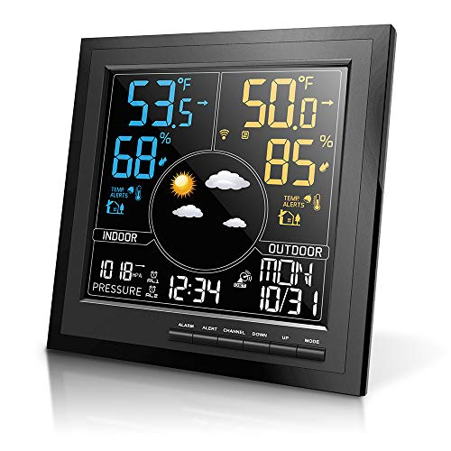 Geevon Wireless Weather Station Indoor Outdoor Thermometer Hygrometer HD Color Screen Digital Displays Barometer with Weather Forecast Alarm Clock with Snooze Function Categories Dining Features Kitchen Stations Weather