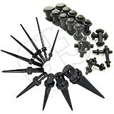 Gauge Gear 10-Teiliges Expander-Set (1,3 mm - 10 mm) und 18-Teiliges Ohrstecker-Set (1,6 mm - 10 mm), Schwarz