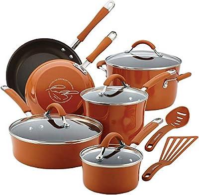 Rachael Ray Cucina Aluminum 12-Piece Nonstick Cookware Set (Hard Enamel Porcelain, Pumpkin Orange)