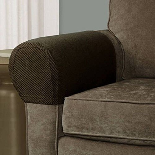 Pixel Stretch Fabric Furniture Armrest Cover, Set of 2, Costa Brown