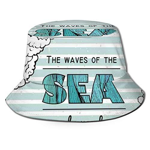 SUHETI Sombrerode Pescador Visera,Las Olas del mar te Hacen Frase y Olas Gratis,con Gorra Protección contra Sol UV Transpirable Sombrero