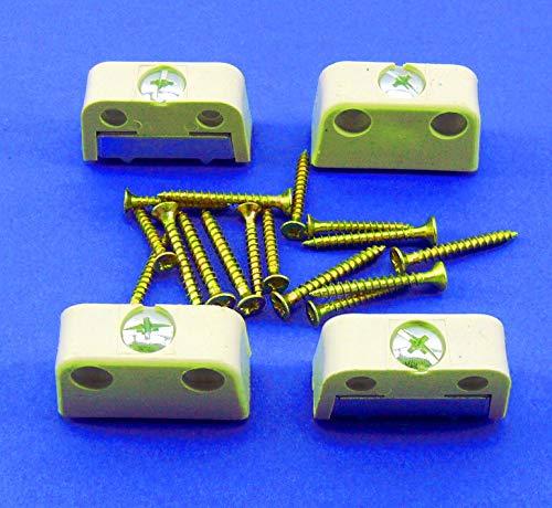 HETTICH - 4 Stück - Möbel Verbinder - Trapezverbinder - Möbelverbinder - 40 x 16 mm - weiß Kunststoff