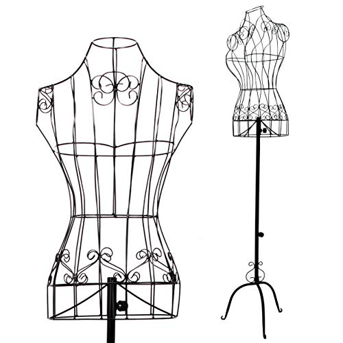 Female Black Metal Steel Wire Mannequin Dress Form for Sewing Display